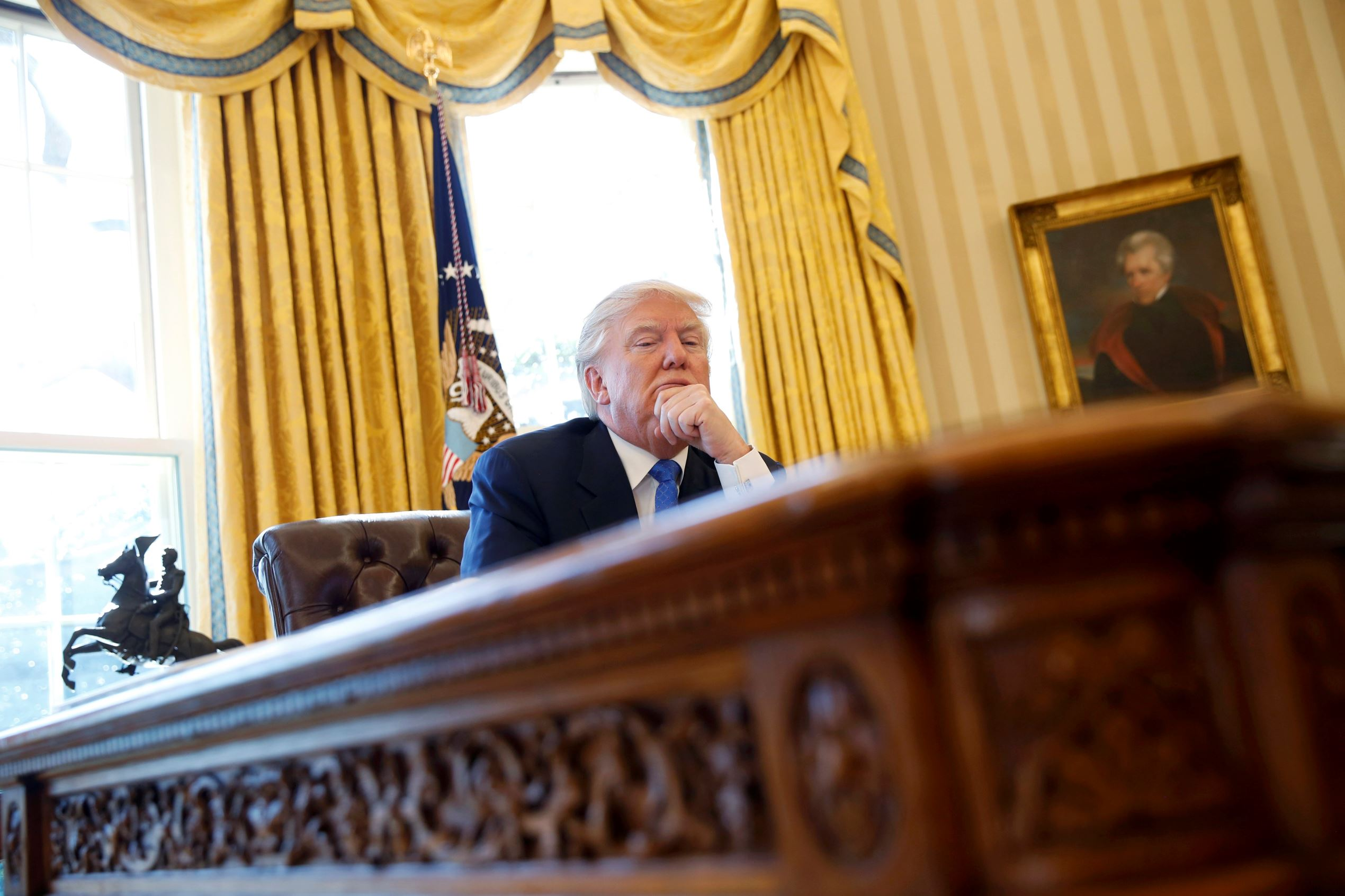 U.S. President Donald Trump pauses during an an interview in the Oval Office at the White House in Washington, U.S., February 23, 2017.