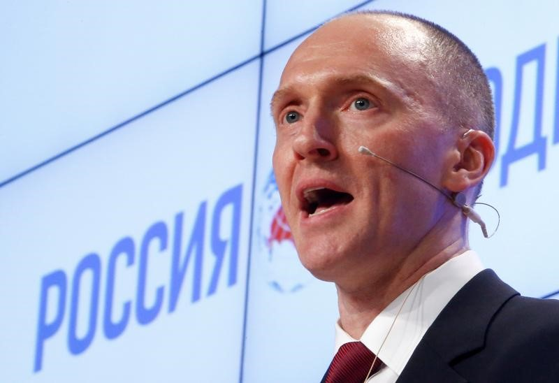 FILE PHOTO: One-time advisor of U.S. president-elect Donald Trump Carter Page addresses the audience during a presentation in Moscow, Russia, December 12, 2016.