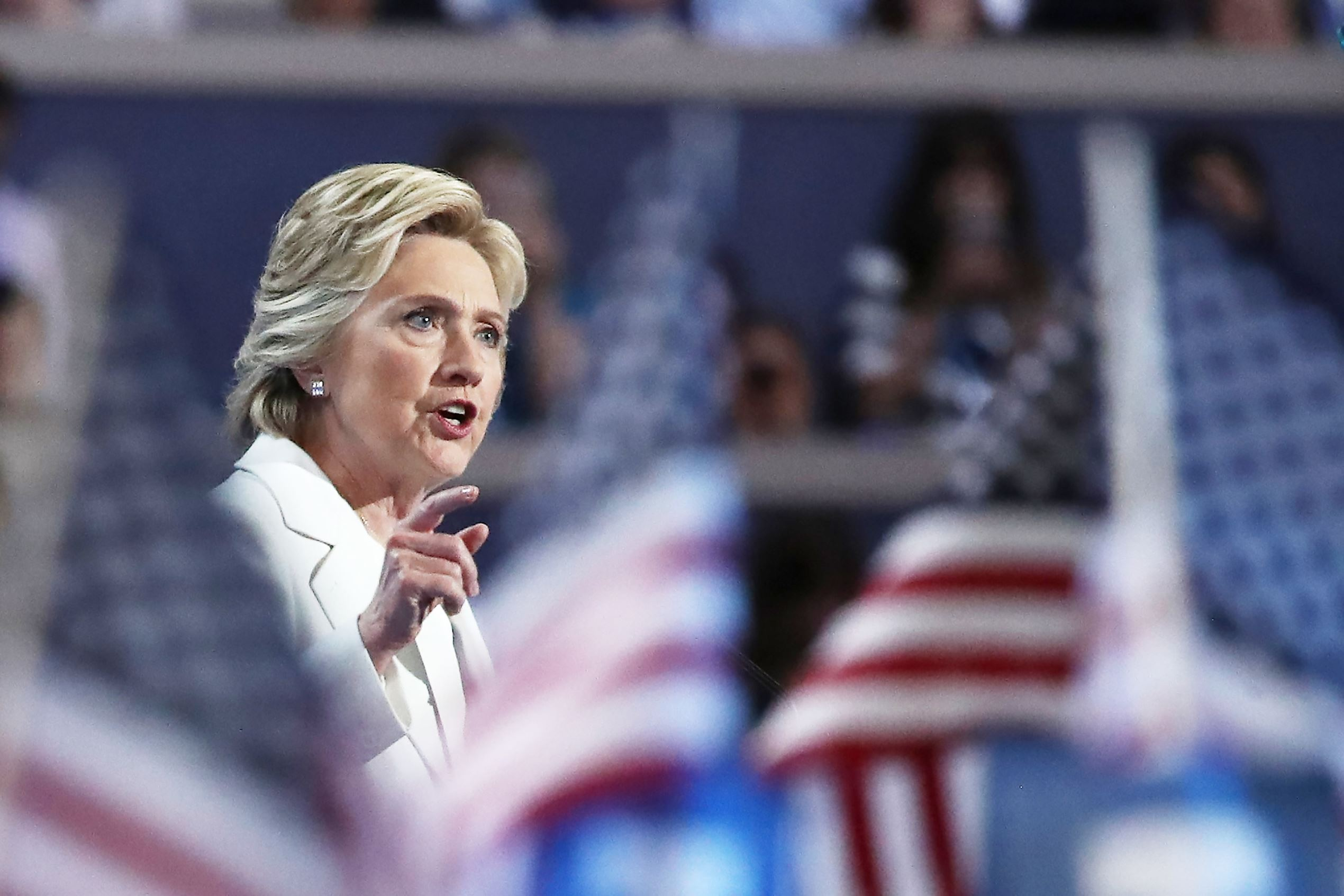 Democratic presidential candidate Hillary Clinton delivers remarks during the fourth day of the Democratic National Convention at the Wells Fargo Center, July 28, in Philadelphia, Penn.