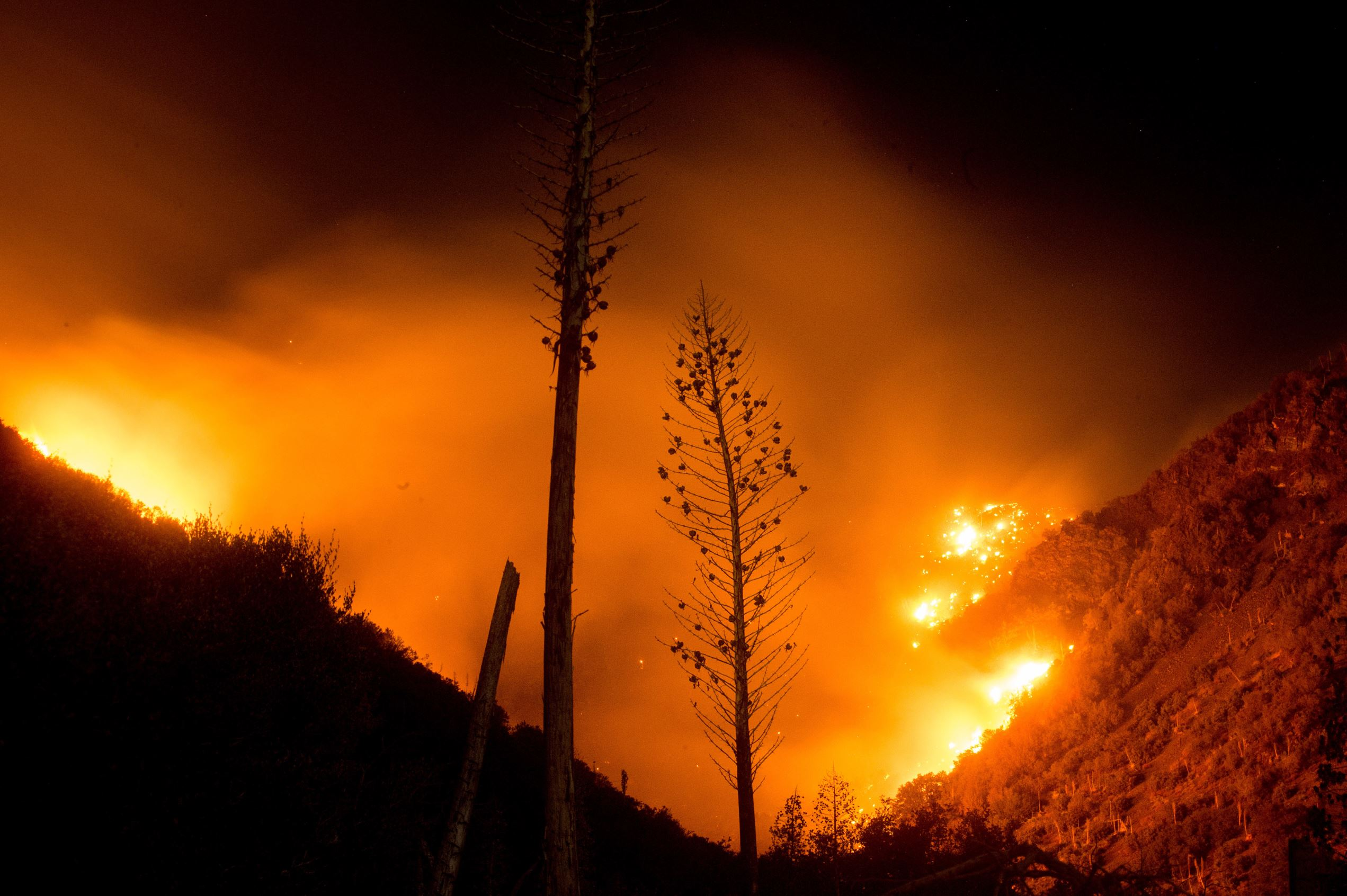 Слайд 74 из 86: The Blue Cut fire burns in Upper Lytle Creek near Wrightwood, Calif., Friday, Aug. 19, 2016. Firefighters were on the offensive Friday as they worked to expand significant gains against a huge wildfire that chased thousands of people from their homes in Southern California. (AP Photo/Noah Berger)