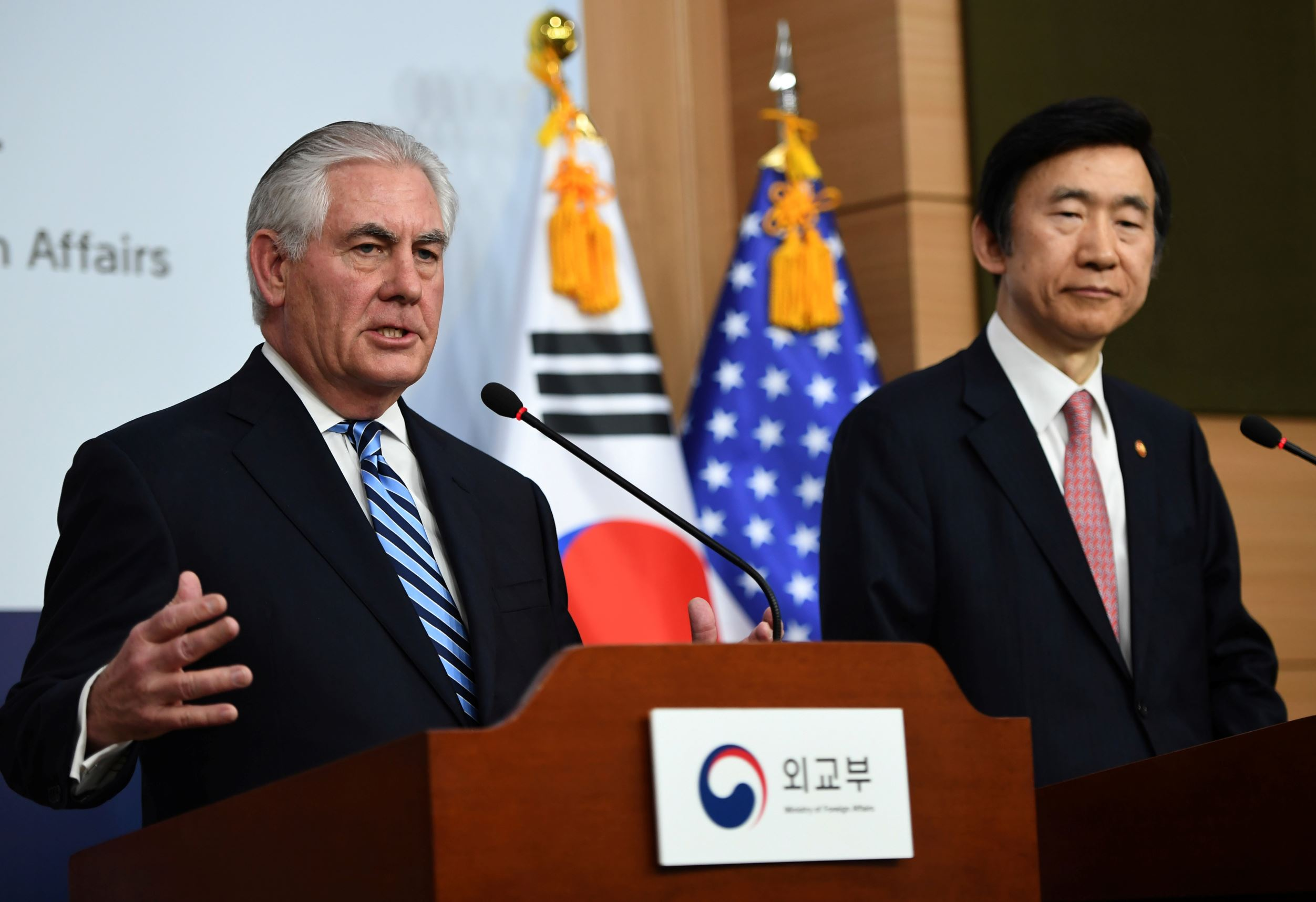 U.S. Secretary of State Rex Tillerson speaks as South Korean Foreign Minister Yun Byung-Se looks on during a news conference in Seoul.