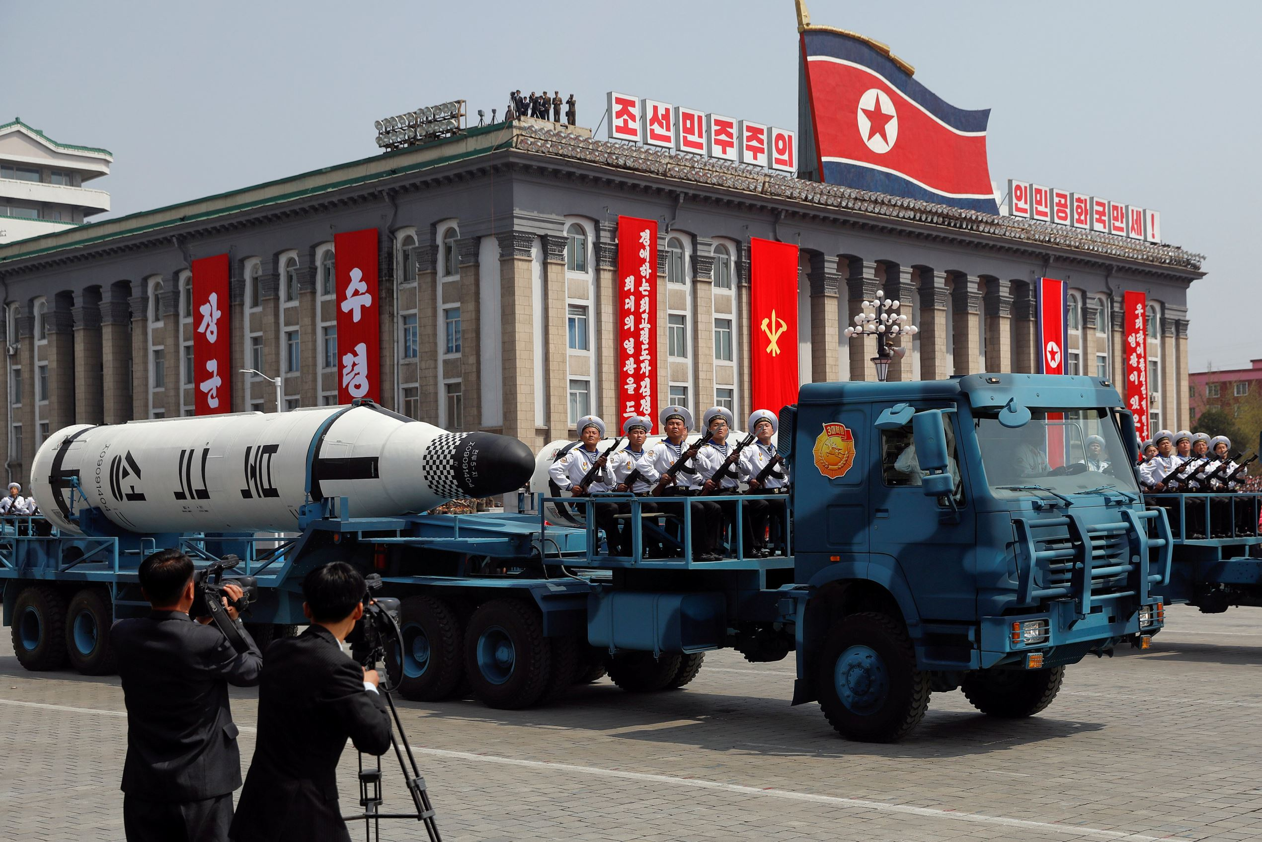 A North Korean navy truck carries the 'Pukkuksong' submarine-launched ballistic missile (SLBM) during a military parade marking the 105th birth anniversary of country's founding father, Kim Il Sung in Pyongyang, April 15, 2017.