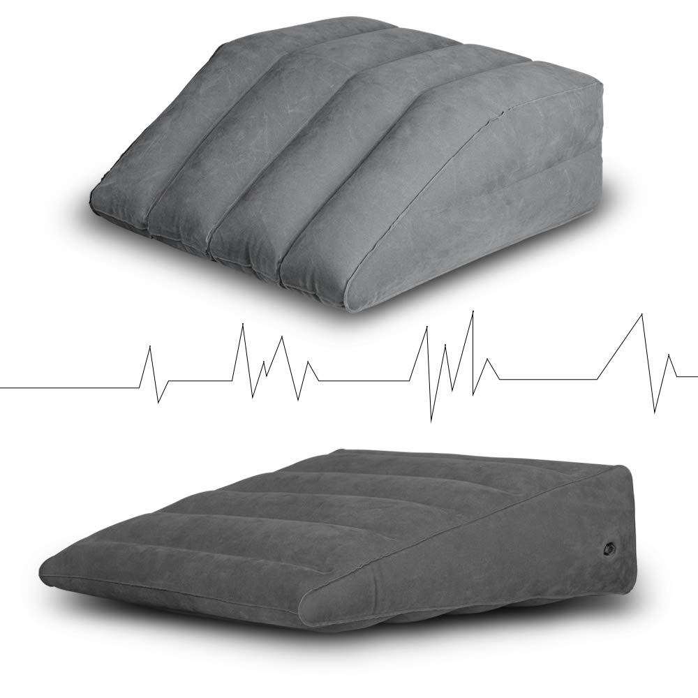 2 pcs inflatable wedge pillow and leg elevation pillow portable bed wedge leg rest pillow lightweight and portable fast inflating deflation