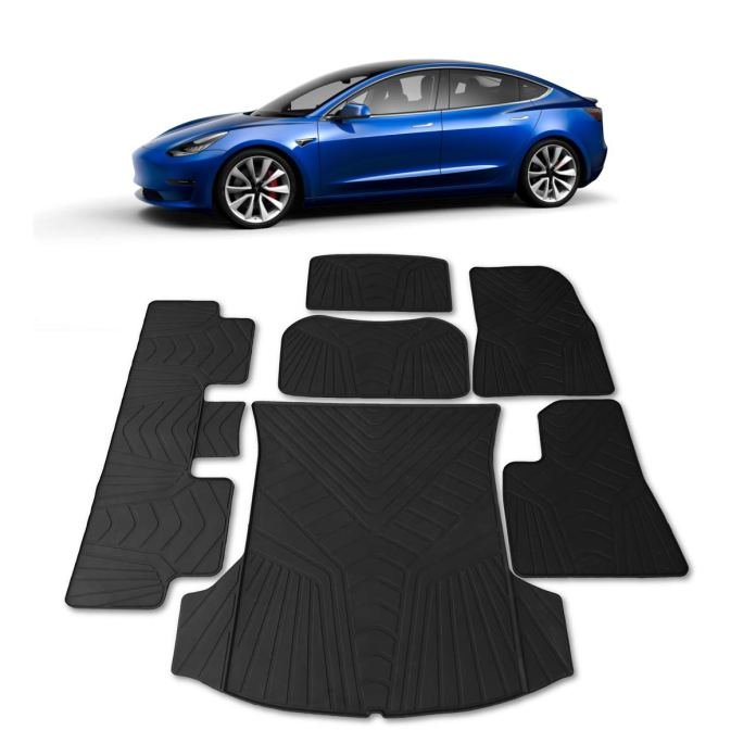 Automotive All Weather Floor Mats Front Rear Trunk Cargo Tray Fit 2017 2020 Tesla Model 3 Car Truck Parts