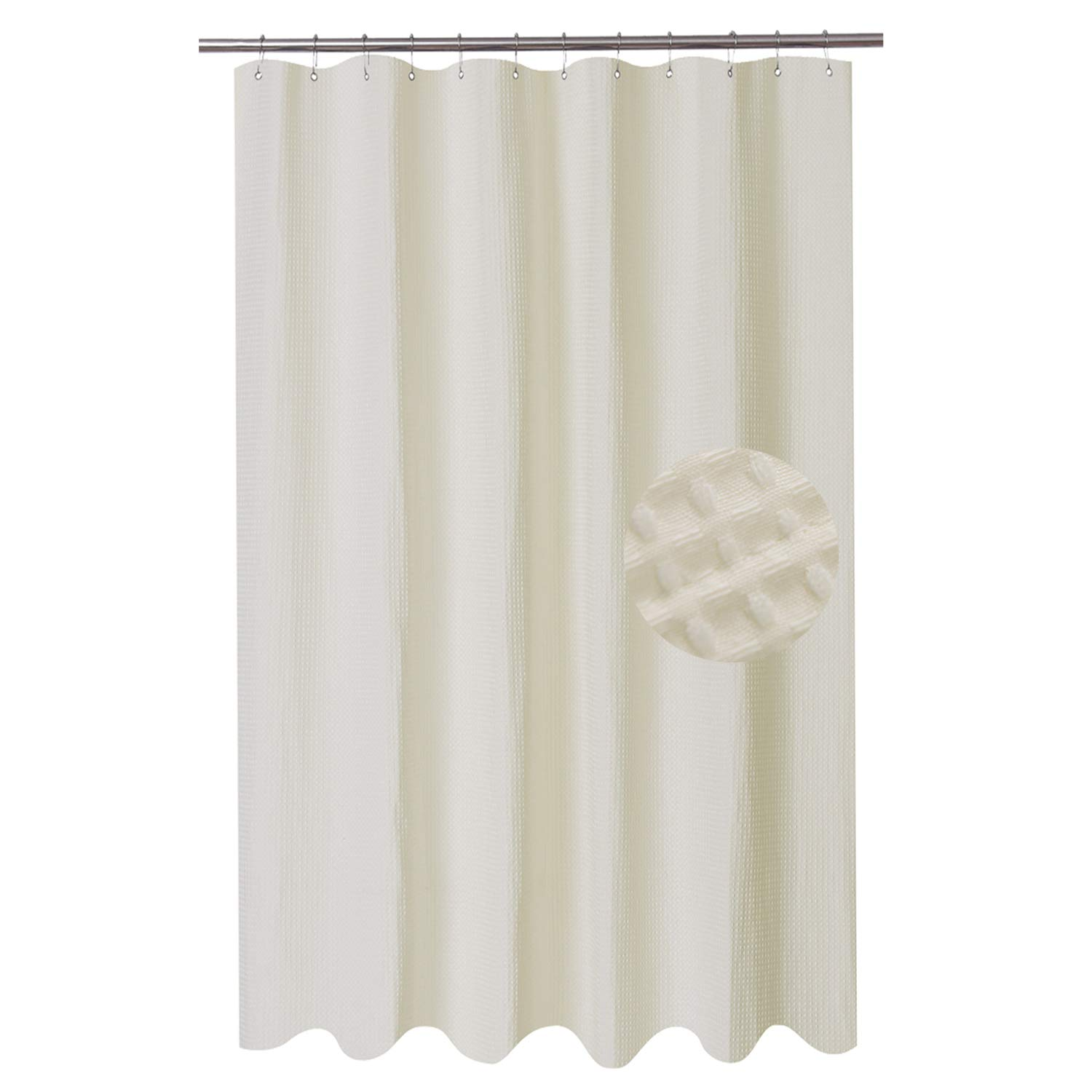 barossa design extra long fabric waffle weave shower curtain 84 inch height hotel collection water repellent 230gsm heavy duty machine washable
