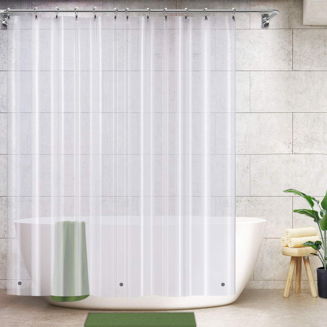 vcvcoo clear shower curtain liner 72x72 inch small size peva shower liner with 3 magnets 100 waterproof stall shower curtain non odorless 12 holes