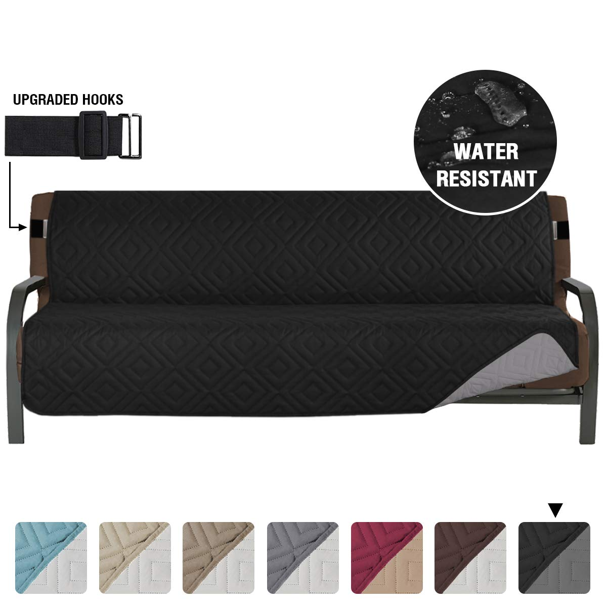 Armless Futon Cover Futon Slipcover Full Queen Size Futon Couch Cover Futon Sofa Cover Futon Bed Cover Furniture Protector Water Repellent Soft Thick Quilted Reversible Seat Width 70 Black Grey