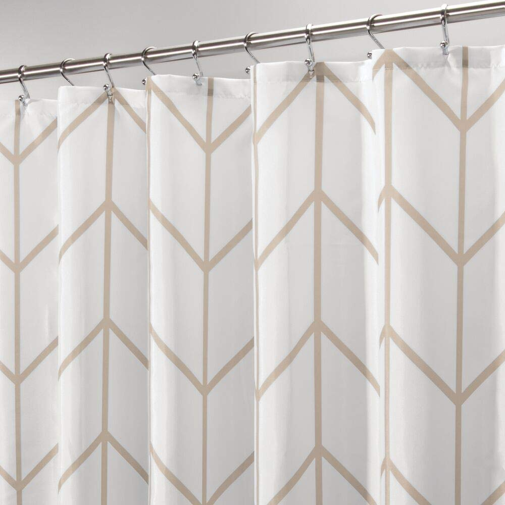 mdesign decorative herringbone print easy care fabric shower curtain with reinforced buttonholes for bathroom showers stalls and bathtubs
