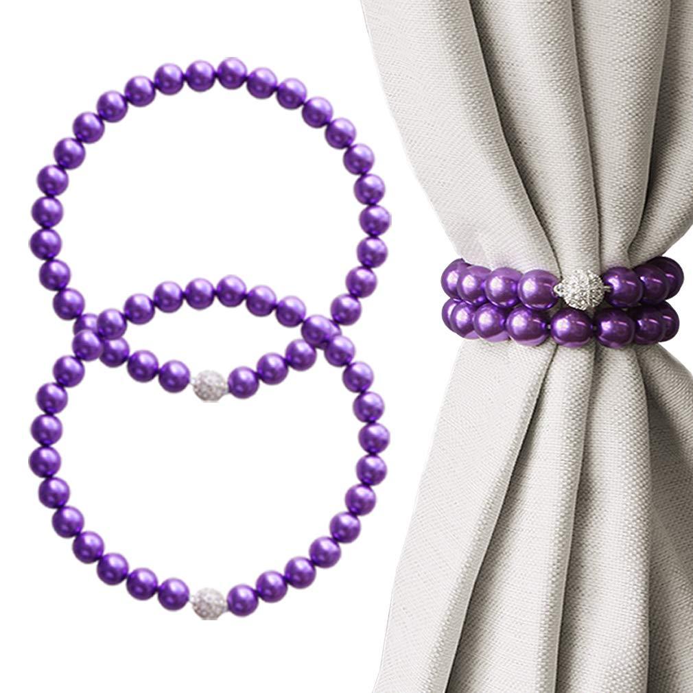valea home magnetic curtain tiebacks decorative pearl bead curtain holdbacks clips elegant window draperies rope ties purple set of 2