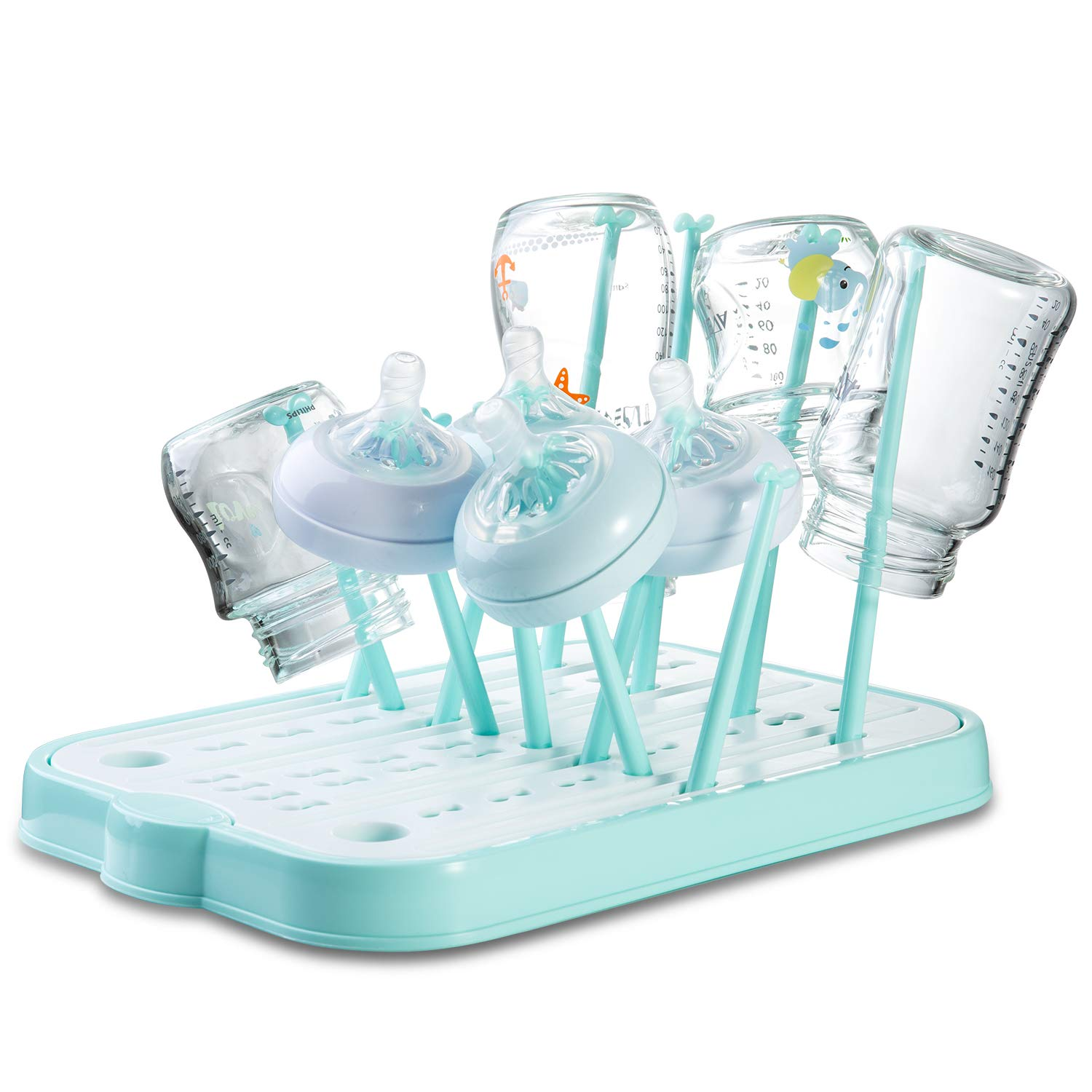 baby bottle drying rack countertop dryer rack with drainer board for baby bottles and accessories blue