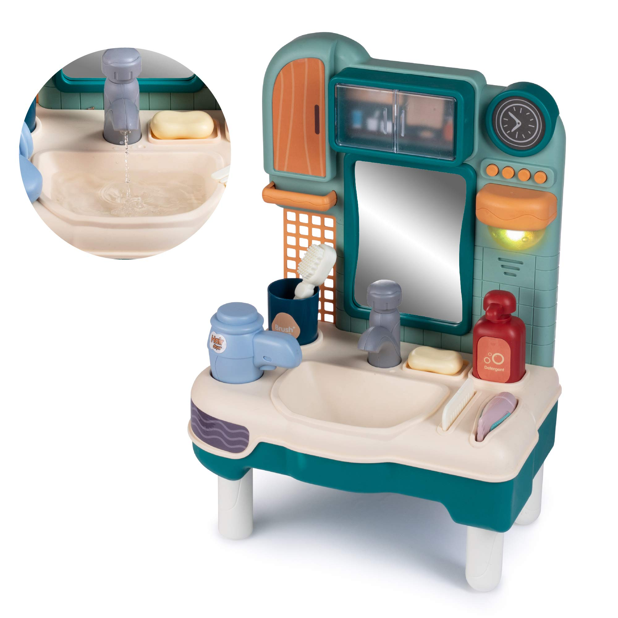 hoovy play washbasin bathroom sink kids play sink with running water pretend play washbasin toys set with working faucet and play toothbrush