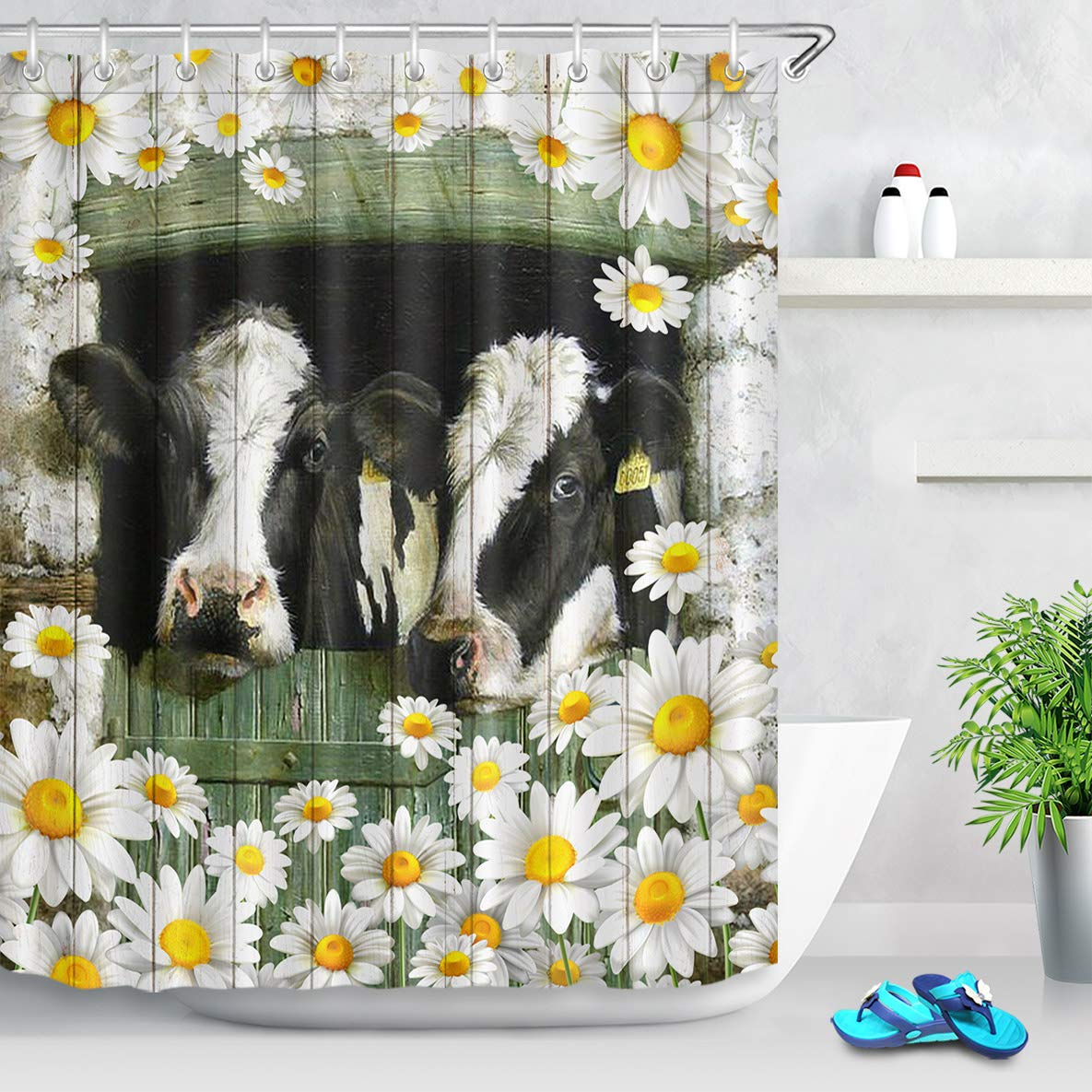 lb farm cow daisy floral shower curtain rustic wood door white flower farmhouse shower curtains sets country style backdrop for bathtub 59x70 inch