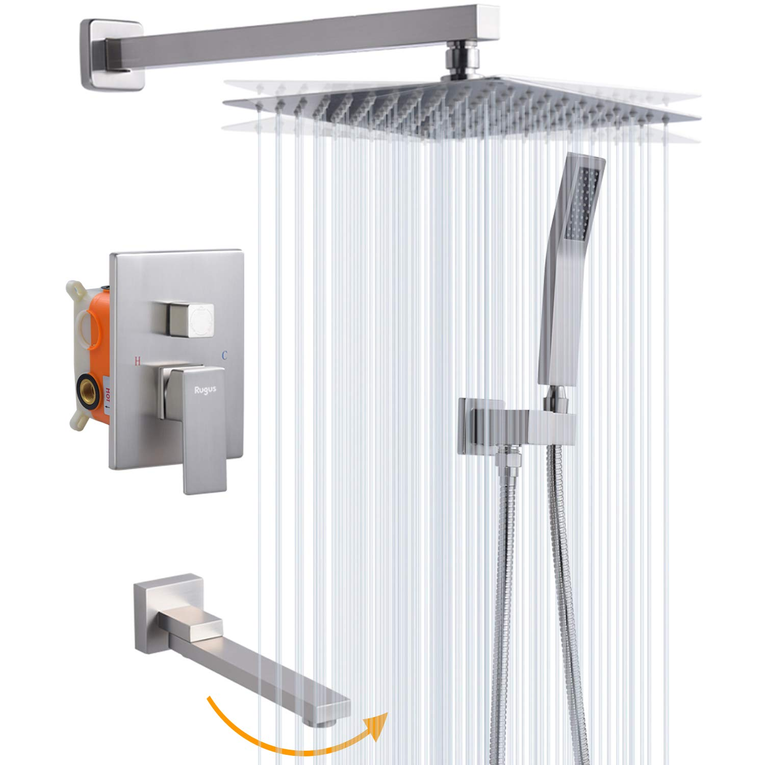 rugus shower system luxury rain mixer shower tub spout combo set wall mounted rainfall shower head system 12 inch square rain shower head brushed