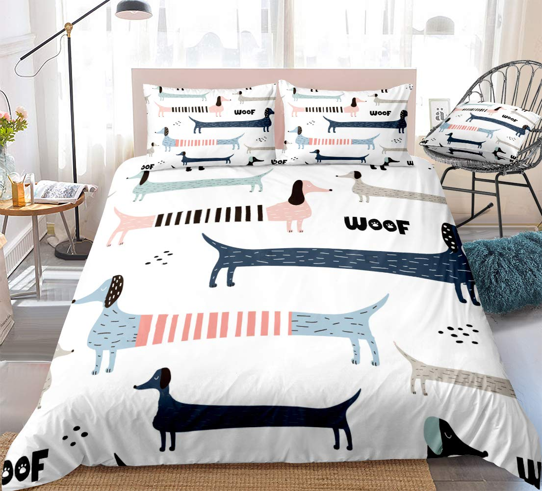 white dog bedding cartoon kids duvet cover set colorful dachshunds woof printed design boys girls quilt cover queen 1 duvet cover 2 pillowcases