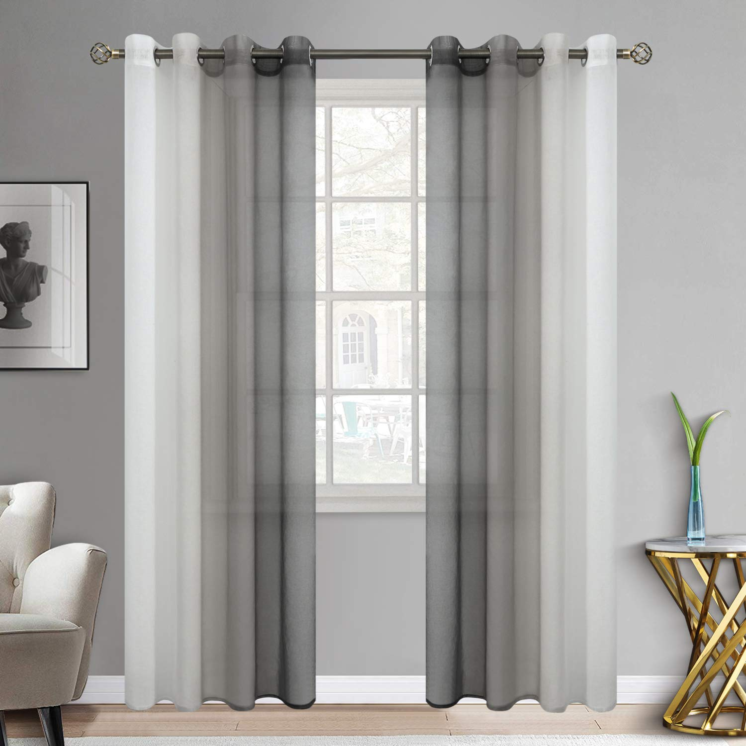 bgment ombre sheer curtains faux linen grommet light filtering semi sheer gradient window curtain pair for bedroom living room set of 2 panels each