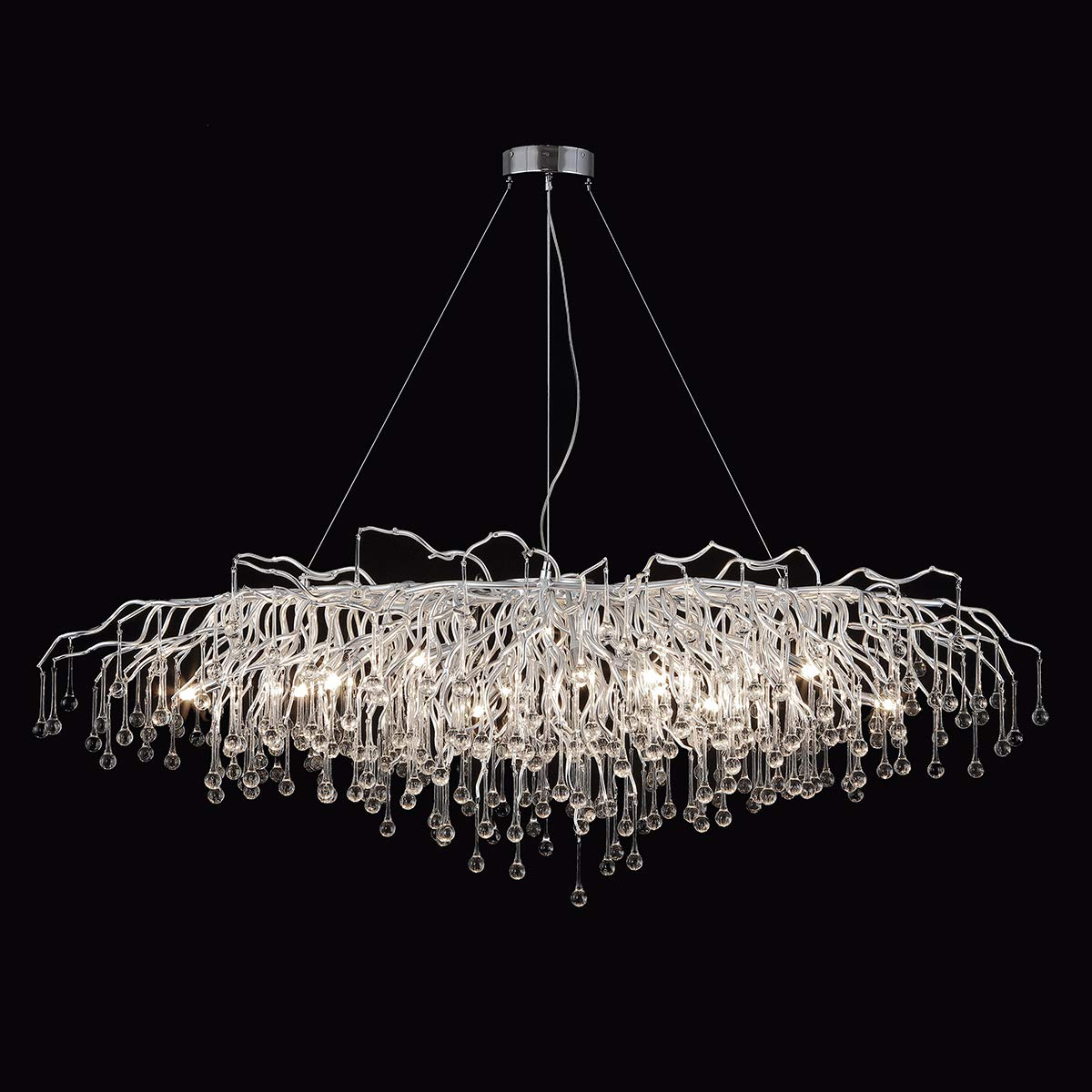 antilisha rectangle chandelier for dining room foyer modern crystal chandeliers lighting large for high ceilings pendant forest rain drops linear long