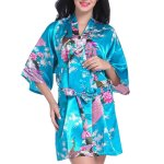Admireme Women S Bridesmaid Robes Short Peacock Blossoms Kimono Robe Dressing Gown Floral Robes M Lake Blue