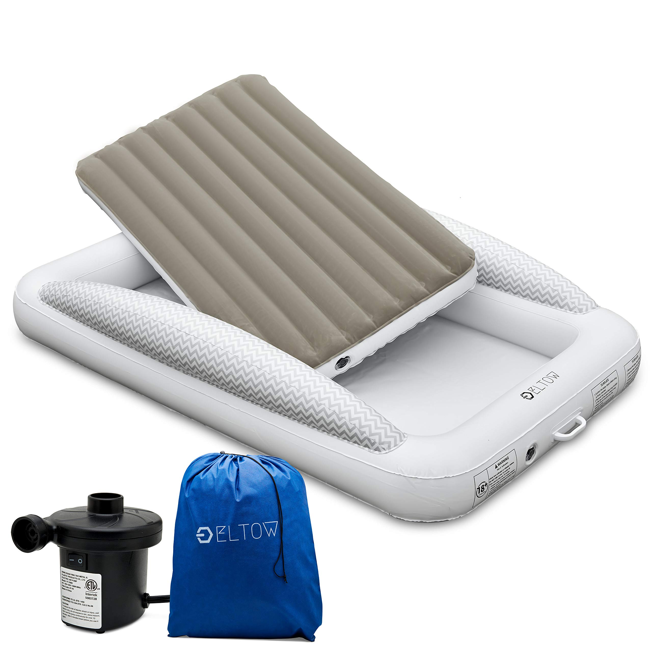 Eltow Inflatable Toddler Air Mattress Bed With Safety Bumper Portable Modern Travel Bed Cot For Toddlers Perfect For Travel Camping Removable Mattress High Speed Pump And Travel Bag Included