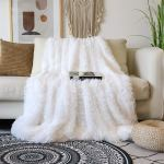 Decorative Extra Soft Faux Fur Blanket Full Size 70 X 78 Solid Reversible Fuzzy Lightweight Long Hair Shaggy Blanket Fluffy Cozy Plush Fleece Comfy Microfiber Blanket For Couch Sofa Bed Pure White