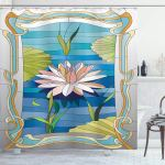 Ambesonne Art Nouveau Shower Curtain Lotus On The Water Baroque Avant Garde Classic Architecture Pattern Cloth Fabric Bathroom Decor Set With Hooks 70 Long Green Blue