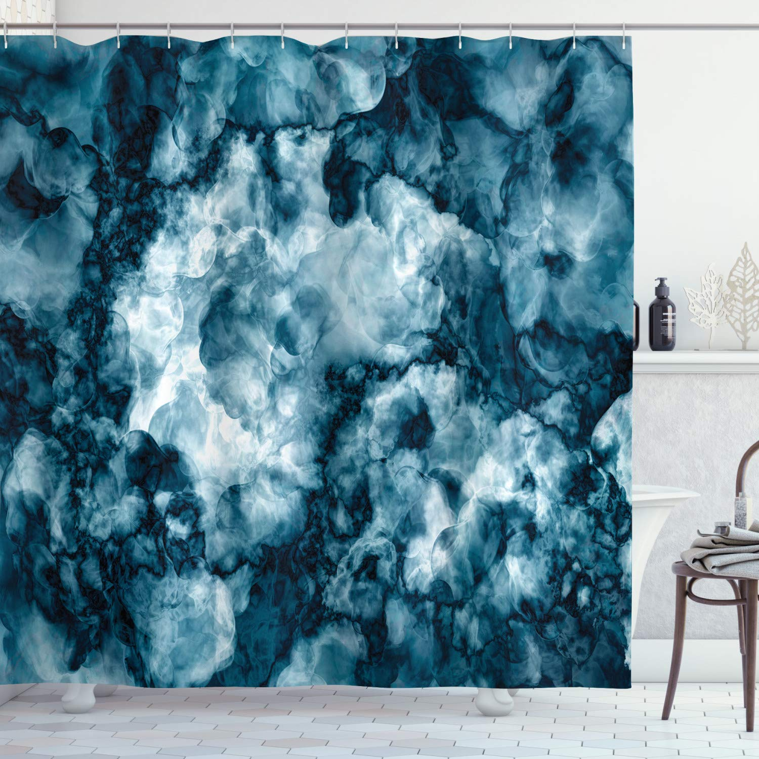 Ambesonne Marble Shower Curtain Antique Marble Stone With Blurry Distressed Motley Fractal Effects Illustration Artwork Cloth Fabric Bathroom Decor Set With Hooks 84 Long Extra Blue Indigo