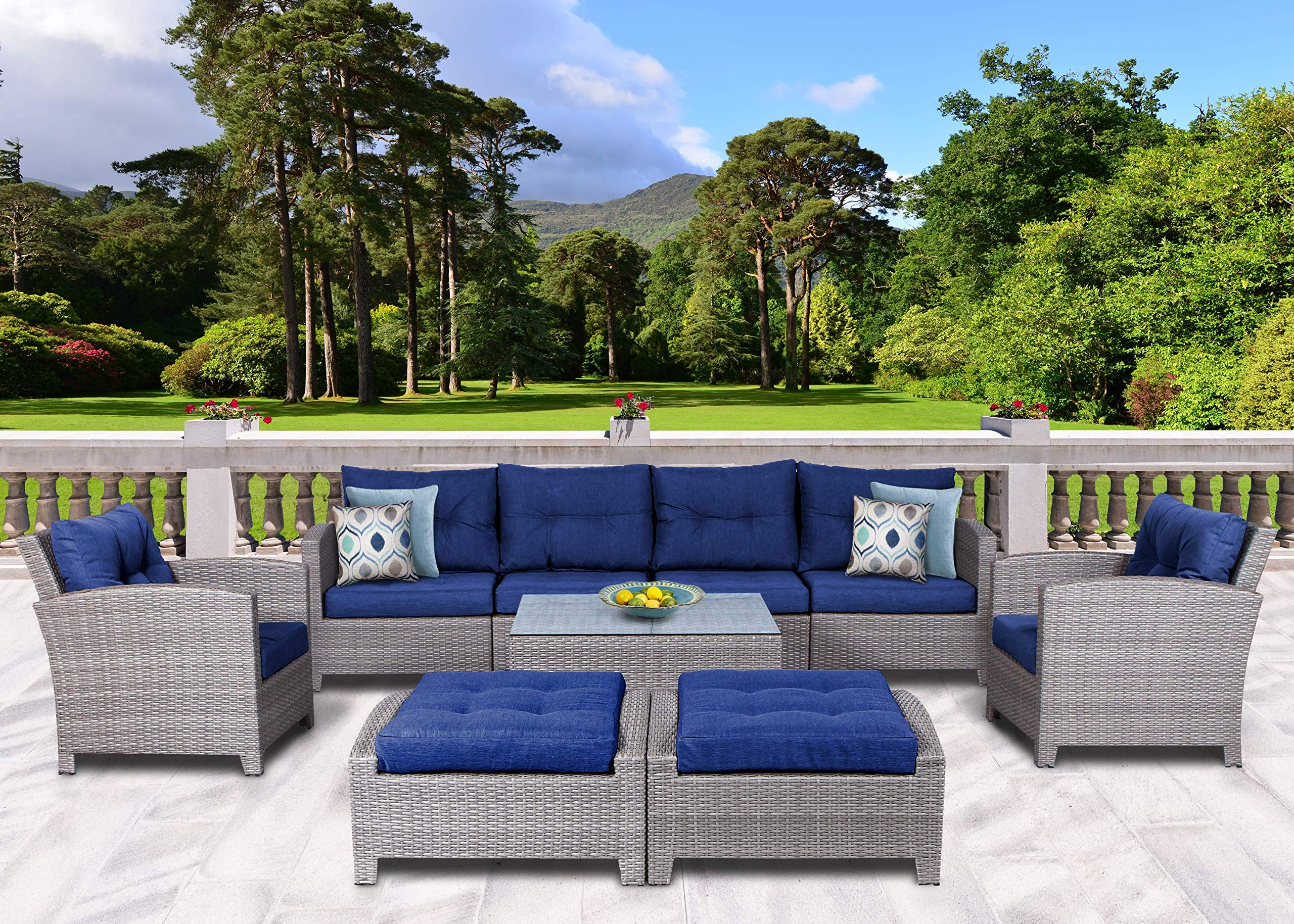 sunhaven resin wicker outdoor patio furniture set 9 piece conversation sectional premium all weather gray wicker rattan aluminum frame with deluxe