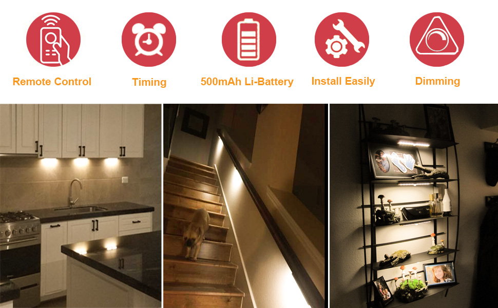 anbock wireless under cabinet lighting remote control led closet light under counter lighting rechargeable battery operated lights stick on lights for