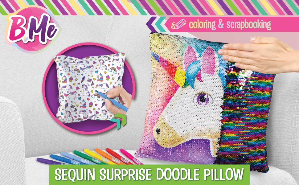 b me sequin unicorn pillow for girls reversible double sided rainbow doodle sequined pillows bedroom decor art creative magic glitter pillow