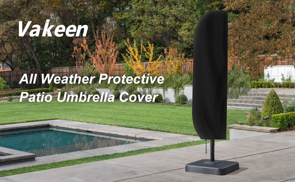 vakeen patio umbrella cover umbrella covers for outdoor offset umbrellas durable waterproof cantilever parasol covers with zipper suitable for 7ft