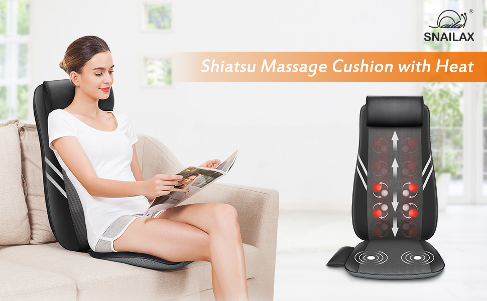snailax full back massager with heat shiatsu massage chair pad with 8 flexible massage nodes kneading chair massasger for neck and back pain relief