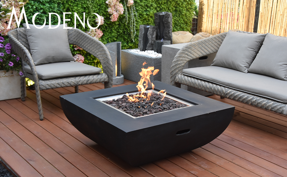 modeno aurora outdoor fire pit propane table 34 inches square firepit table concrete high floor patio heater electronic ignition backyard fireplace