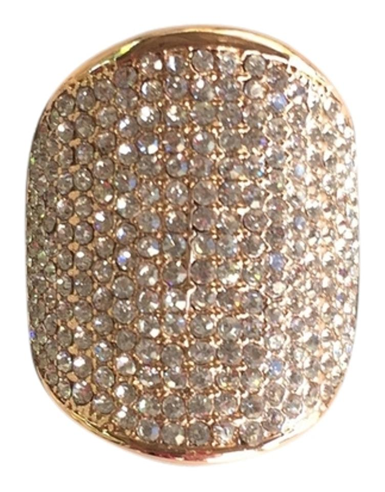 Vince Camuto Rose Gold Tone Shield Crystal Shield Ring 47 Off Retail