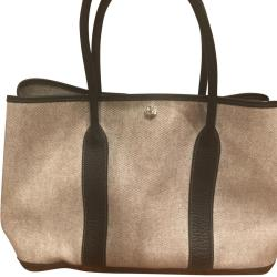 5d0f2c1ff4b6 Herms Garden Party 36 Grey Canvas And Black Toile Leather Tote