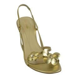 b4d761002 Kate Spade Old Gold Lorie Flower Slingback Strapy Heels In Nappy
