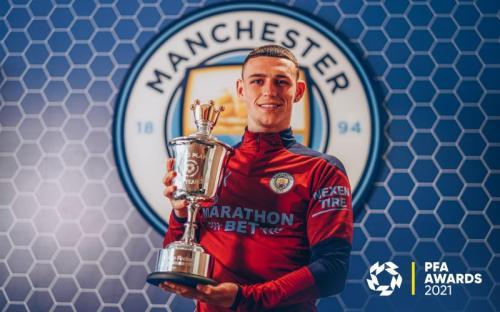 Phil Foden raih PFA Young Player of The Year Liga Inggris 2020-2021. Twitter/PFA