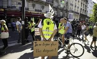 """Manifestation des """"gilets jaunes"""", le 24 août 2019 à Paris."""