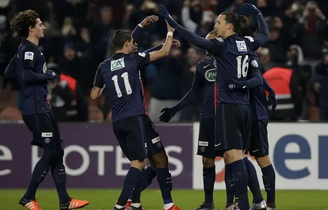 Célébrations après un but de Zlatan Ibrahimovic contre Toulouse en Coupe de France, le 19 janvier 2016.