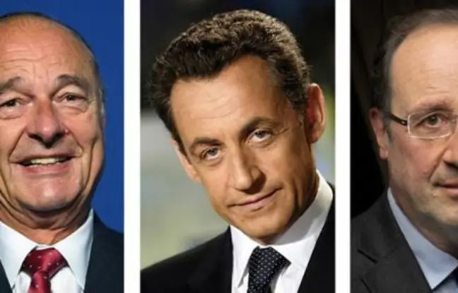 Montage de photos de Jacques Chirac, Nicolas Sarkozy et François Hollande
