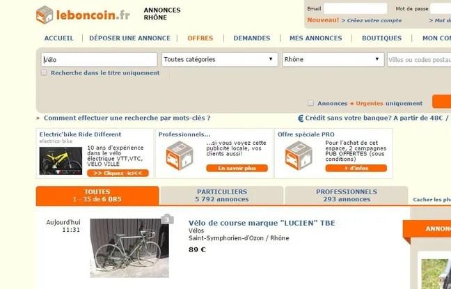 Capture d'écran du site de revente Le Bon Coin (Illustration).