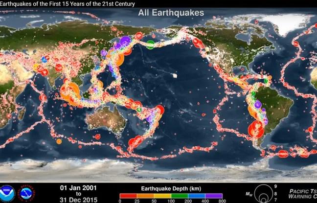 Tous les séisme entres 2001 et 2015...