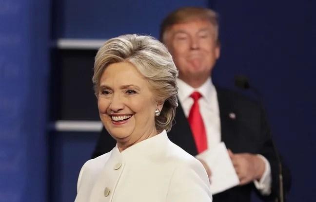 Hillary Clinton et Donald Trump à la fin du troisième et dernier débat télévisé, le 19 octobre 2016.