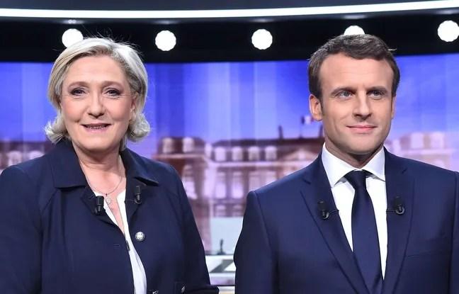 Marine Le Pen et Emmanuel Macron avant le débat de l'entre-deux-tours, le 3 mai 2017.