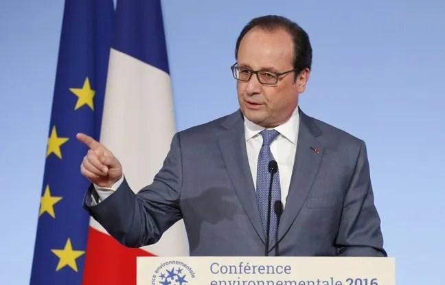 François Hollande lors de son discours pendant la Conférence environnementale