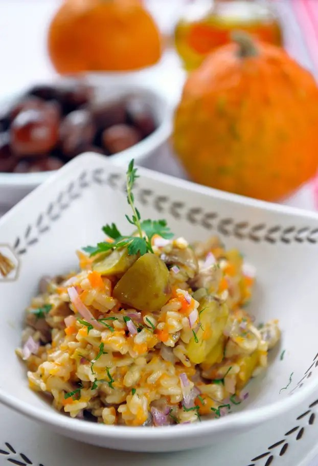 Ham and chestnuts risotto