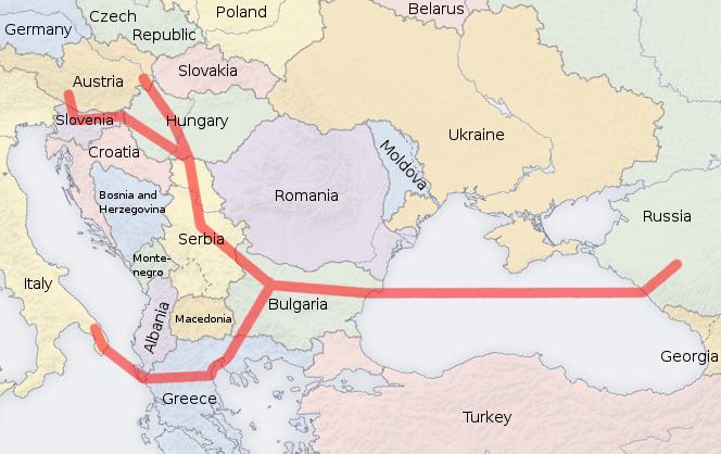 A Déli Áramlat útvonala (Forrás: Wikimedia Commons)