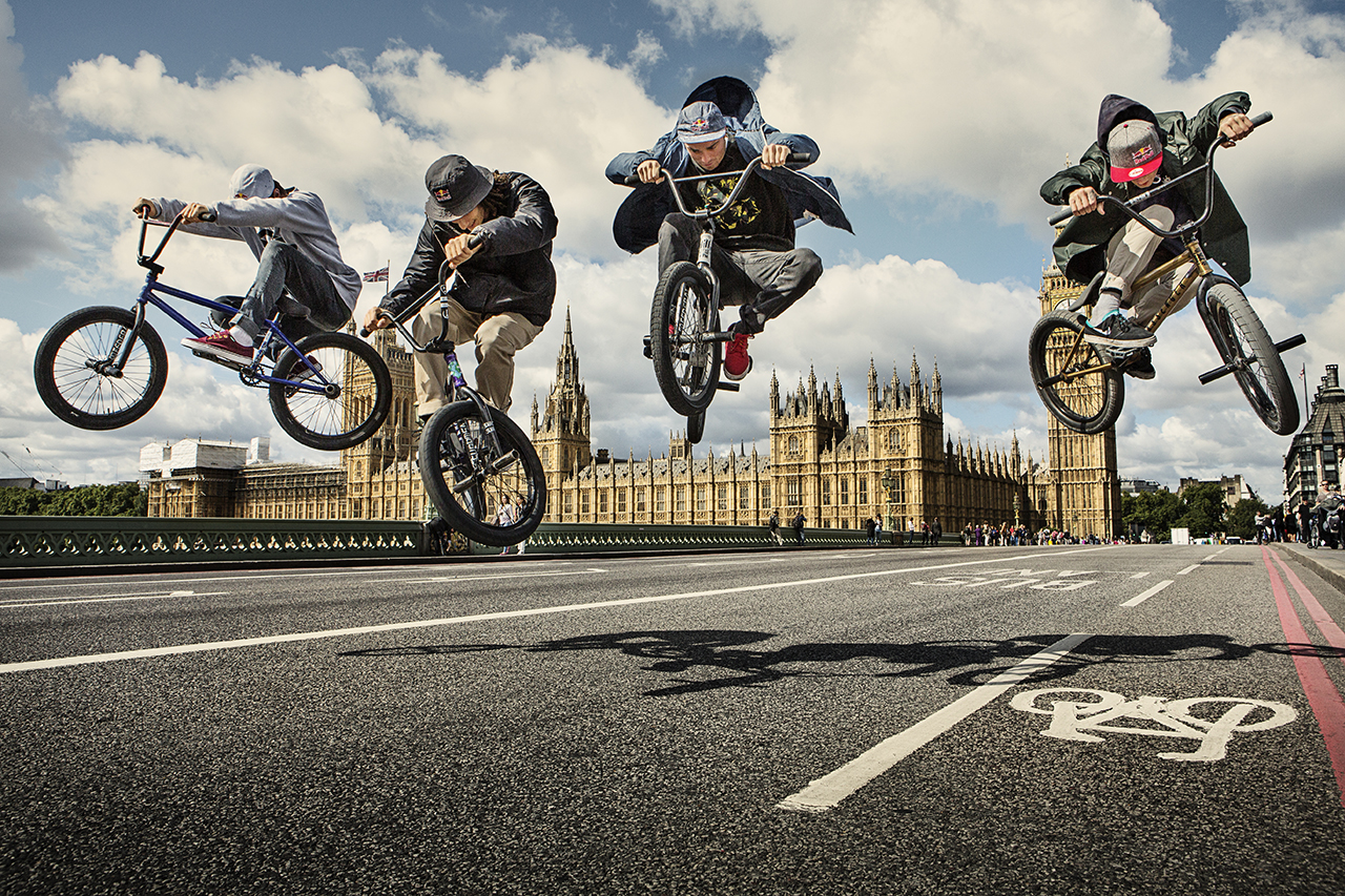 Anhony Perrin, Simone Barraco, Bruno Hoffmann and Kriss Kyle perform during the Red Bull Local Hero Tour at the Houses of Parliament in London, United Kingdom on August 19th 2014 // Rutger Pauw / Red Bull Content Pool // P-20140820-00006 // Usage for editorial use only // Please go to www.redbullcontentpool.com for further information. //