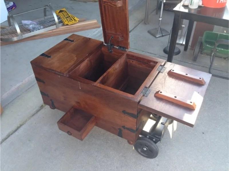 wood chest wine trunk pier 1 brown ridgeway storage coffee table ottoman as seen in photos
