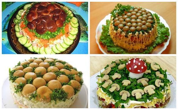 確かに各テーブルには、きのこを持つサラダがあり、その装飾のためのいくつかの選択肢の選択に含まれます。