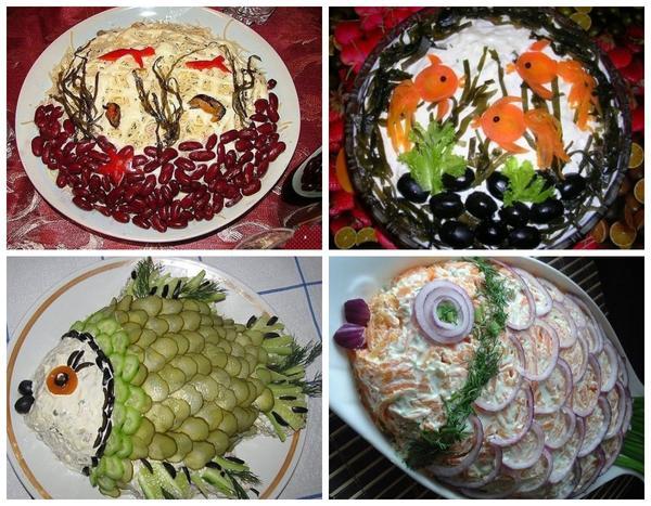 魚やシーフードのサラダのためには、非常にエレガントなテーマのサービングのアイデアがあります。塩のきゅうりからの鱗が非常に良い魚の魚!