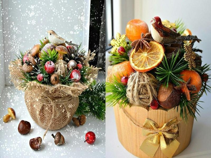 Креативный новогодний букет своими руками
